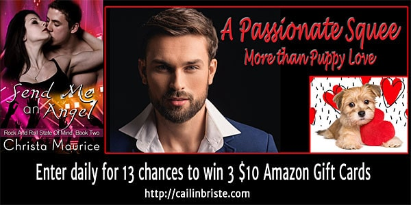Christa Maurice's rock star drummer in Send Me an Angel will get #APassionateSquee from readers. Visit & comment to enter the giveaway.